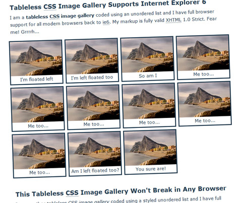 A Tableless CSS Image Gallery with Bulletproof Browser Support For ALL Browsers, Even IE6